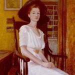 Tanya in Edwardian Dress: Oil on canvas. Size: 30 x 20in (76 x 51cm)